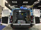 This van from Adrian Steel includes shelving, drawers, and ladder