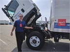 Before driving the FTR, an Isuzu engineer did a walkaround of the new