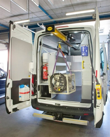 <p> The EasyLoad remains inside the vehicle, away from the elements, and can be stowed above shelving on either side of the vehicle or in the center of the cargo hold until needed. <em>(Photo courtesy of National Fleet Products)</em></p>