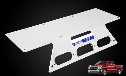 <p><em>Photo of Chevrolet Silverado no-drill mounting plates courtesy of Larson Electronics</em></p>