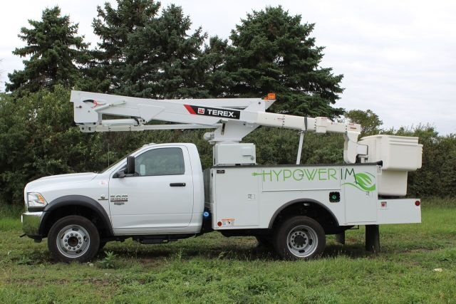 <p><em>HyPower IM is currently available for Class 5 Chassis, such as Ford, Dodge/Ram, and GM trucks, used with Terex Hi-Ranger telescopic aerial devices, such as the LT, LTM, and TL series aerial devices. (Photo courtesy of Terex)</em></p>