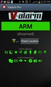 <p>Valarm's home screen, showing the app ready to be armed with various sensors / triggers and responses.</p>