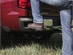 Unique steps incorporated into the corners of the rear bumper are designed to accommodate work boots and can be used with the tailgate up or down.