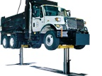 MOD30 Lift with a dump truck. (PHOTO: Rotary Lift)