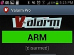 Valarm's home screen, showing the app ready to be armed with various sensors / triggers and responses.