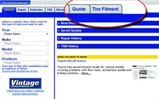 Tire Fitment Tab on OnDemand5.com